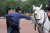 倫敦一日遊:帥氣的日本爸爸抱著很想摸馬的小孩