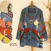 120829-1:Lb145阿米良品秋季新款經典款翻領寬松小鹿圖案毛衣開衫罩衫4.jpg