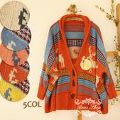 120829-1:Lb145阿米良品秋季新款經典款翻領寬松小鹿圖案毛衣開衫罩衫6.jpg