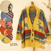 120829-1:Lb145阿米良品秋季新款經典款翻領寬松小鹿圖案毛衣開衫罩衫8.jpg