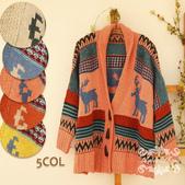120829-1:Lb145阿米良品秋季新款經典款翻領寬松小鹿圖案毛衣開衫罩衫9.jpg