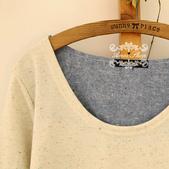 120919:lj012 阿米良品新款簡約森系時尚潮流秋款拼接女裝T恤1.jpg