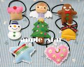 不織布髮夾/髮束/耳環/戒指/項鍊:聖誕節髮束