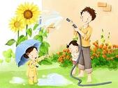 矢量-快樂童年、父親節:父亲节主题韩国插画壁纸m