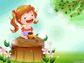 矢量-快樂童年、父親節:童年可愛卡通桌面I