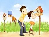 矢量-快樂童年、父親節:父亲节主题韩国插画壁纸5