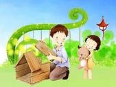 矢量-快樂童年、父親節:父亲节主题韩国插画壁纸n