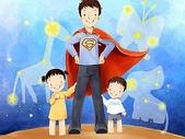 矢量-快樂童年、父親節:父亲节主题韩国插画壁纸.