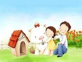 矢量-快樂童年、父親節:父亲节主题韩国插画壁纸v