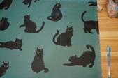 圖案防水布:淘氣貓~綠