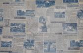 圖案防水布:復古報紙-藍