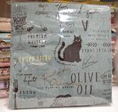 棉麻布:貓。水綠色