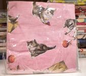 棉麻布:玩藥貓。粉紅