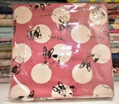 棉麻布:水玉狗。粉紅