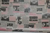 圖案防水布:復古報紙-紅