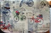 圖案防水布:樂活單車。復古米