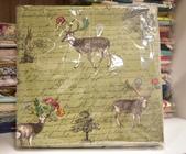 棉麻布:麋鹿。綠色