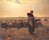 米勒與巴比松畫派:牧羊女與羊群(引自西洋名畫導覽網站)