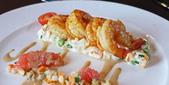 法國之旅-巴黎:巴黎-鐵塔58樓景觀餐廳-法式香煎鮮蝦佐葡萄柚.JPG