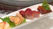 香港朗廷酒店-唐閣-米其林三星中餐廳:唐閣-米其林三星中餐廳-海蜇南非鮮鮑魚+蜜味叉燒+蜜汁燻鱈魚.JPG